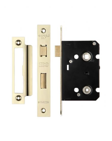 Zoo Hardware ZBC64PVD Contract Mortice Bathroom Lock 64mm Electro Brass